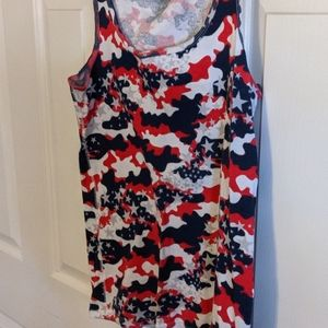 Red white and blue camouflage and star ribbed tank